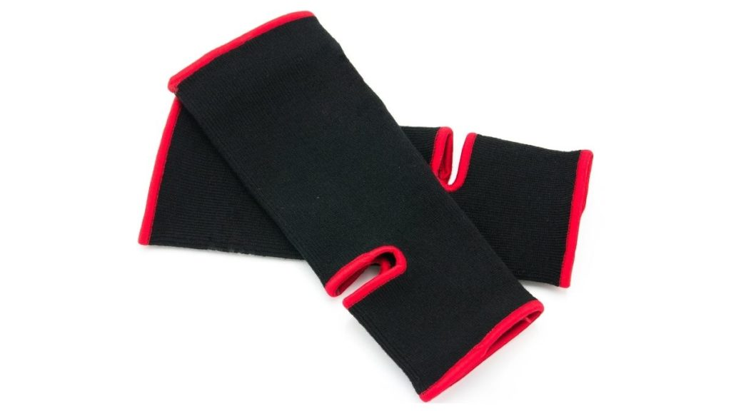 A common style of ankle support foot wraps used for MMA