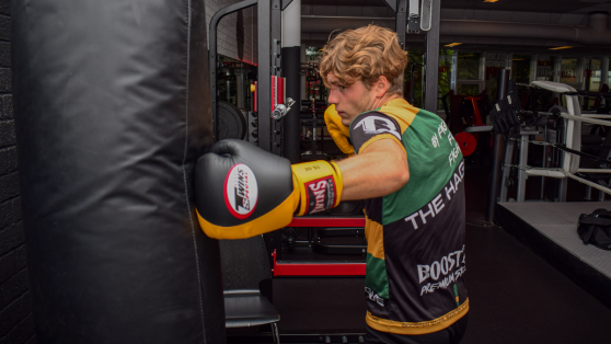 MMA fighter training on the heavy bag