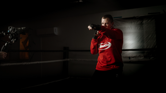 Fighter practicing shadow boxing